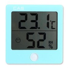 CAS온습도계 TE-301 블루 [디지털 온습도계(블루)/ 습도범위에 따라 3단계 아이콘 표시/ 탁상용/벽걸이 겸용/ 보기 편한 대형 LCD 표시부]