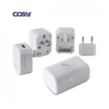 COSY 코시 2구 케이스 USB 여행용아답터 TA1259U (화이트) MTT-TA1259U [해외여행 필수품 / 보관케이스 제공 / USB포트 장착]