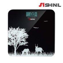 슬림 체중계 SHM-S600KS [ 블랙 / 6mm 강화유리 / 자동센서 / 전지교환시기 알림 / 최대중량 초과 알림표시 ]