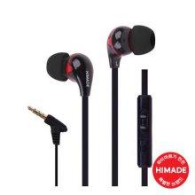 커널형 이어폰 HIMEAR-L0012BK [ 꼬임방지 플랫케이블 / MIC&Volume Control ]