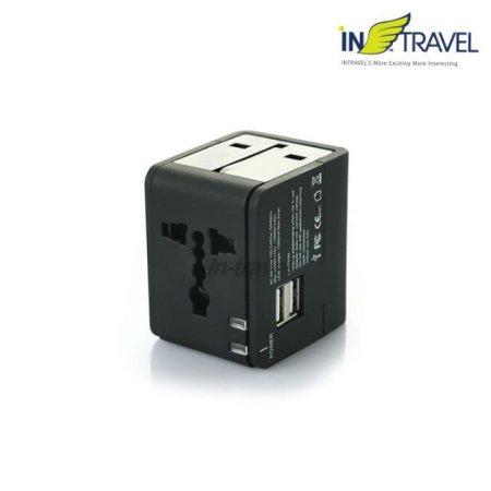 인트래블 USB트래블아답터-큐브 듀얼포트(블랙) NO.0454