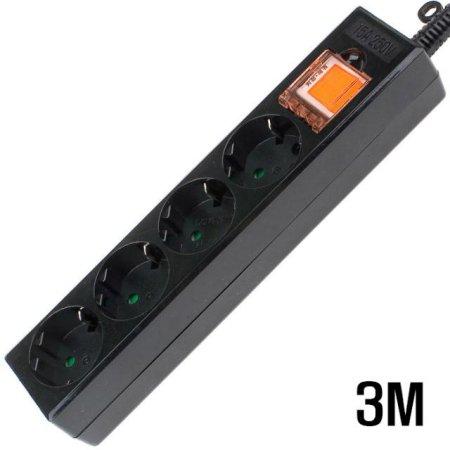 4구 접지 SW  멀티탭 BLACK 3M