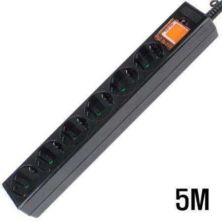 6구 접지 SW  멀티탭 BLACK 5M
