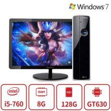 블랙슬림 게이밍 데스크탑 Z5시리즈 (코어i3-2100/8G/SSD120G/GT630/DVD/Win7) 리퍼 + LG정품 24인치 FHD 모니터 풀셋