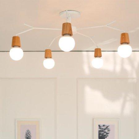 [LED] 보우 5등 거실등 블랙:전구색(노란빛)