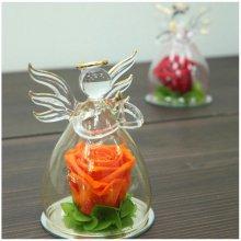 [프리저브드플라워] 장미를 품은 유리 천사 - 오렌지