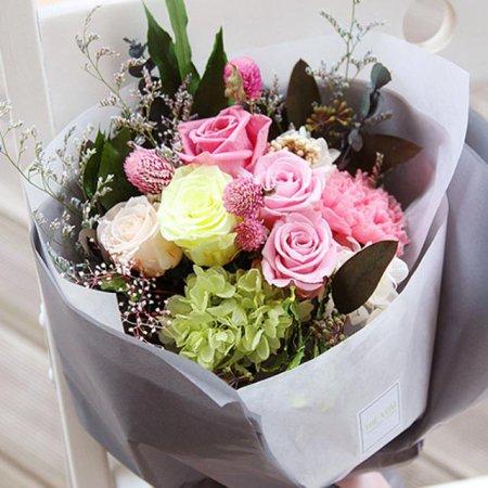 [프리저브드플라워]체리핑크장미꽃다발