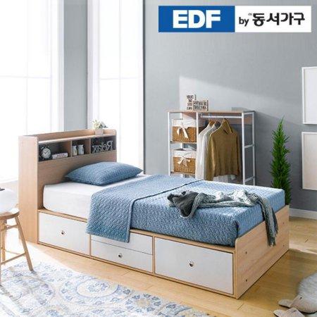 EDFby동서가구 루젠 수납헤드 깊은서랍 슈퍼싱글 침대 (매트리스포함) DFF598G _메이플화이트 콤비