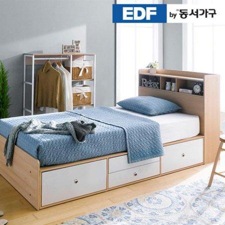 EDFby동서가구 루젠 수납헤드 깊은서랍 슈퍼싱글 침대(9존독립) DFF3598I _메이플그레이 콤비