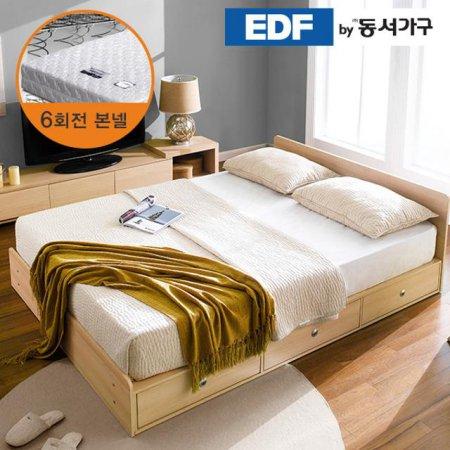 EDFby동서가구 루젠 깊은서랍 퀸 침대 (매트리스포함) DF636027 _메이플화이트 콤비