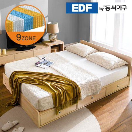 EDFby동서가구 루젠 깊은서랍 퀸 침대 (9존독립) DF636029 _메이플화이트 콤비