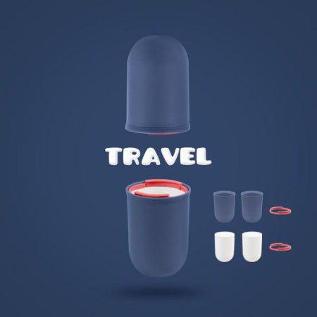 여행 욕실 사무실 위생적인 칫솔치약보관 4PCS 양치컵 ORANGE