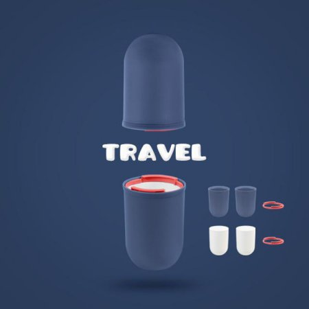 여행 욕실 사무실 위생적인 칫솔치약보관 4PCS 양치컵 BLUE GRAY