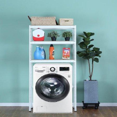 3단 무볼트 조립식앵글 드럼세탁기선반-화이트(800x400x1800/1.6T)