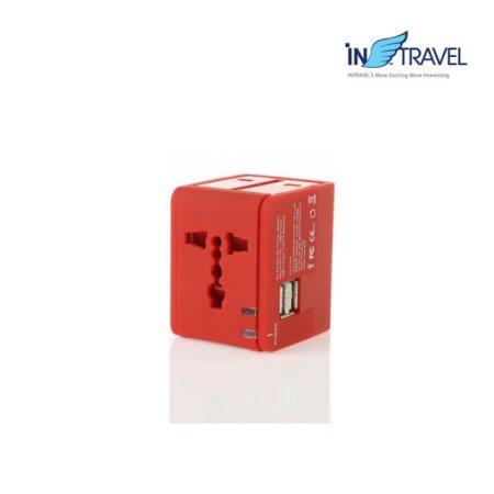 USB트래블아답터-큐브 듀얼포트(레드) NO.0454