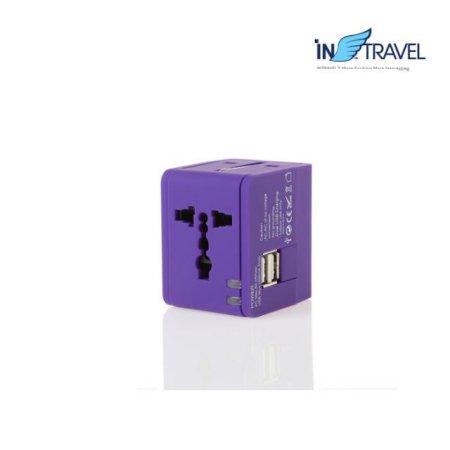 USB트래블아답터-큐브 듀얼포트(퍼플) NO.0454