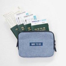 안테나샵 FAMILY PASSPORT BAG n POUCH [월렛파우치/여권파우치/여권지갑/크로스백] Denim Black