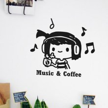 상상날개 Life sticker - 뮤직 & 커피[라이프스티커/그래픽/데코/포인트/인테리어]