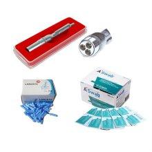 삼침 무통 채혈기(3구 사혈기)+란셋100P+알콜솜100매 세트