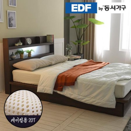 EDFby동서가구 라피 평상형 LED침대 슈퍼싱글 케미컬폼매트 DF636485 _월넛
