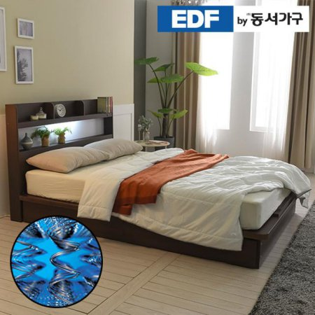 EDFby동서가구 라피 평상형 LED침대 퀸 양면매트 DF636487 _오크