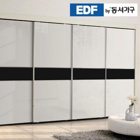 EDFby동서가구 시스템화이트펄 블랙밴드 슬라이딩 붙박이장 10cm DF636583