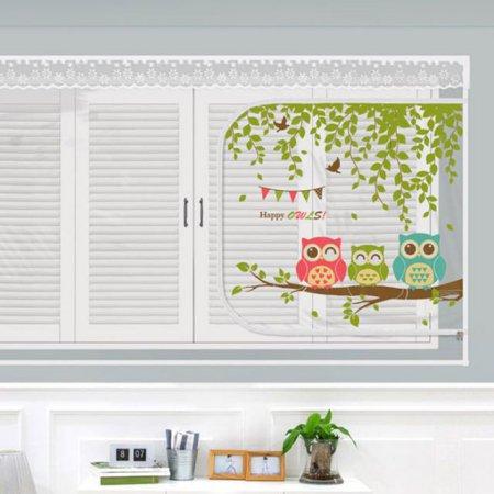 다샵 EVA창문형지퍼식 방풍 바람막이 행복부엉이 150x120cm