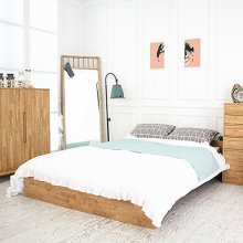 고무나무 LR 원목 레트로 저상형 퀸 침대