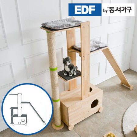 EDFby동서가구 펫츠펀 원목 캣타워 화장실형+스크래쳐+슬로프 G형 DF636838