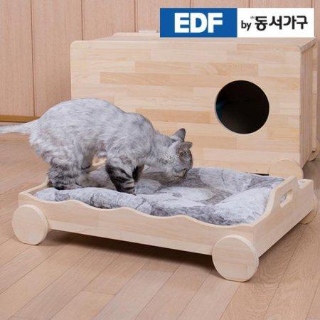 EDFby동서가구 펫츠펀 냥이멍이 손잡이형 소나무원목 침대(매트미포함) DF636818