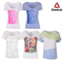 [QR코드인증]리복 여성 반팔 기능성/요가/라운드/브이넥 티셔츠- 8종택1 선택1)Z93432:S