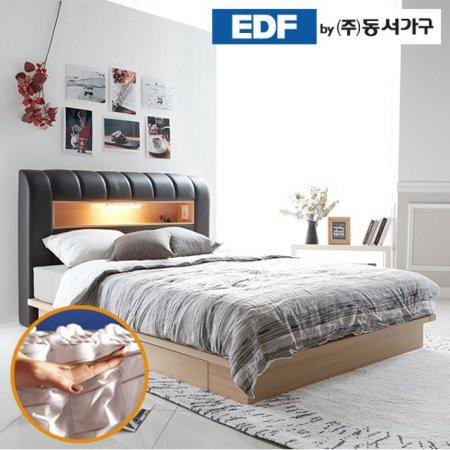 디아나 통판 LED 퀸침대(독립매트리스) DF637045 _초코메이플