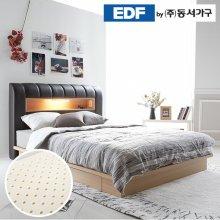 디아나 서랍형 통판 LED 퀸침대(케미컬폼독립매트리스) DF637042 _그레이월넛