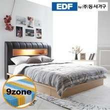 디아나 서랍형 통판 LED 퀸침대(9존독립매트리스) DF637041 _그레이월넛