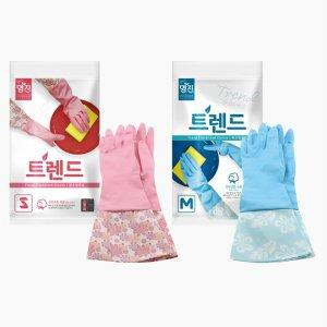 트렌드 면코팅 고무장갑 2컬러 (분홍/파랑)