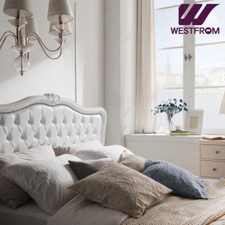 럭셔리앙뜨) 화이트 침대(퀸) 프레임 + 파운데이션(하단) 매트리스(네이비)
