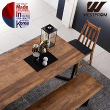 빈티지 두오모) 박달나무 원목 스틸 6인 식탁 SET 월넛브라운