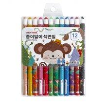 모나미 색연필 SET_MONIZOO 축지식 색연필 12색 남