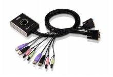 2포트 USB DVI 케이블 KVM 스위치