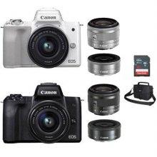 미러리스 EOS-M50 더블렌즈 [ 블랙 / 본체 + 15-45mm IS STM + 22mm / 16GB메모리+가방증정 ]