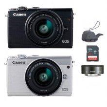 미러리스 카메라 EOS-M100 [ 블랙 / 15-45mm IS STM + 22mm / 16GB메모리 + 고래파우치 ]