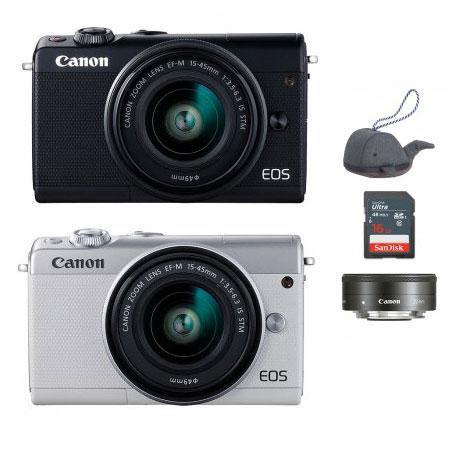 EOS-M100 미러리스 카메라 더블렌즈KIT[본체+15-45mm IS STM+22mm/EF-M마운트][16GB메모리 + 고래파우치]