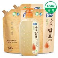 (무료배송)참그린 주방세제 순수발효 곡물 720ml 용기 + 1.2L 리필 3개