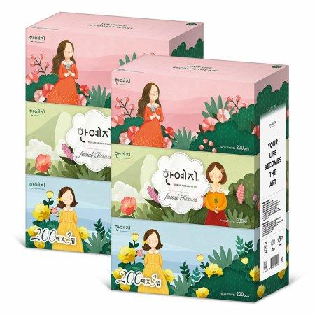 (무료배송) 캐릭터 미용티슈 200매 3입 2팩