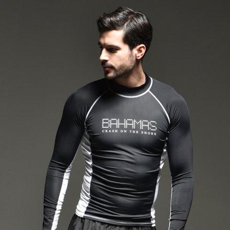 BAHAMAS 도트 블랙 래쉬가드 L 남성