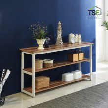 TS-05 슬림테이블1200 set(기본형+추가선반) 슬림식탁 사이드테이블 슬림선반 TS-05(블랙)/책상형/1200/아카시아 (추가선반포함)