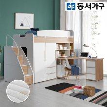 공간활용 벙커침대 책상 옷장2세트 DF909804 _오크/오크/A타입1+B타입1