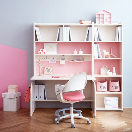 [SET] 링키 컴팩트 책상세트 + 시디즈 링고의자 아이보리+핑크:인조가죽핑크