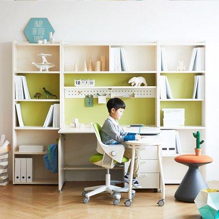 [SET]링키 퍼펙트 책상세트 + 시디즈 링고의자 책상-아이보리+블루:의자-패브릭-블루