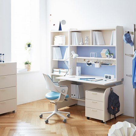 [SET]링키 서랍형 책상세트 + 시디즈 링고의자 아이보리+그린:인조가죽-블루